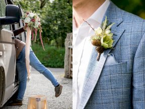 Buttonhole and bouquet photo by Rebecca Roundhill Photography