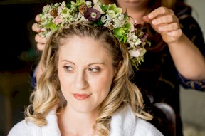 Flower crown including hellebores image by Rebecca Roundhill Photography