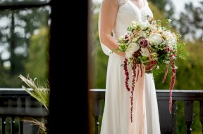 Brides bouquet with trailing amaranthus image by Rebecca Roundhill Photography