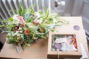 Eau-de-nil and coral bouquet Image by Rebecca Roundhill Photography