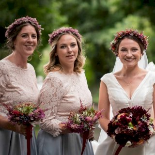 Autumnal floral crowns and bridesmaid bouquets