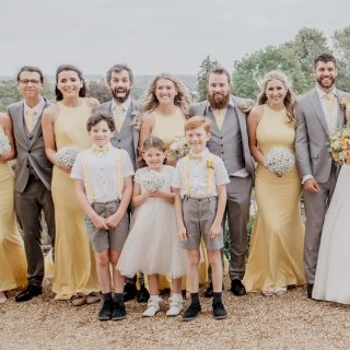 Yellow white and grey wedding